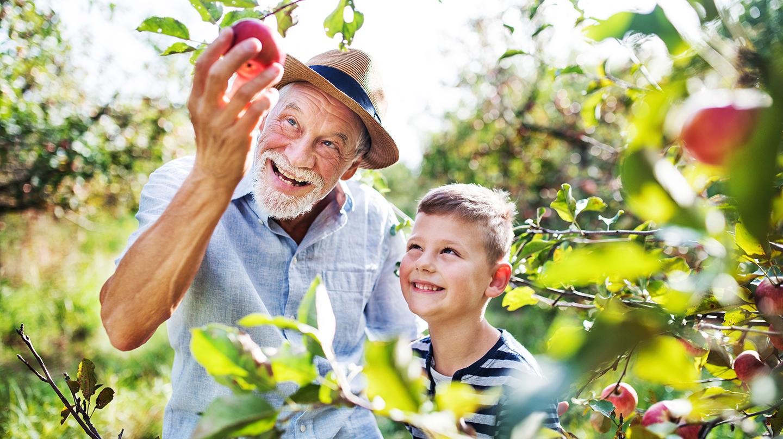 Alter Mann mit Enkel